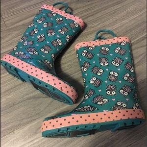 Western Chief Girls Green/Pink Owl Rainboots